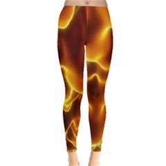 Sea Fire Orange Yellow Gold Wave Waves Leggings