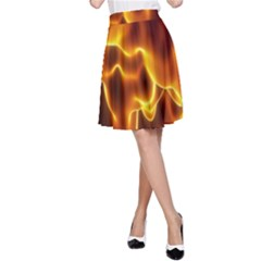 Sea Fire Orange Yellow Gold Wave Waves A-Line Skirt