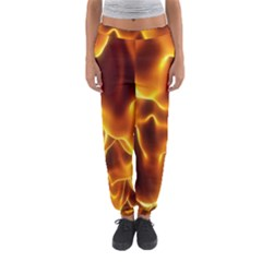 Sea Fire Orange Yellow Gold Wave Waves Women s Jogger Sweatpants