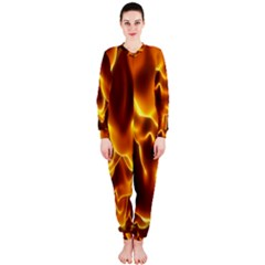 Sea Fire Orange Yellow Gold Wave Waves OnePiece Jumpsuit (Ladies)