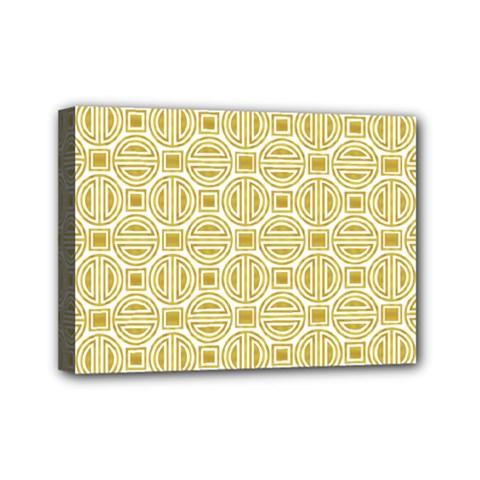Gold Geometric Plaid Circle Mini Canvas 7  x 5