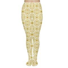 Gold Geometric Plaid Circle Women s Tights