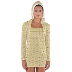 Gold Geometric Plaid Circle Women s Long Sleeve Hooded T-shirt