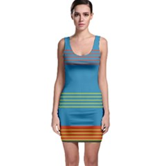 Sketches Tone Red Yellow Blue Black Musical Scale Sleeveless Bodycon Dress