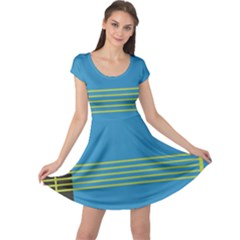 Sketches Tone Red Yellow Blue Black Musical Scale Cap Sleeve Dresses