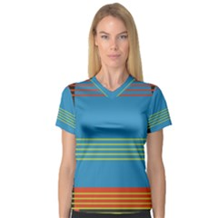 Sketches Tone Red Yellow Blue Black Musical Scale Women s V-Neck Sport Mesh Tee