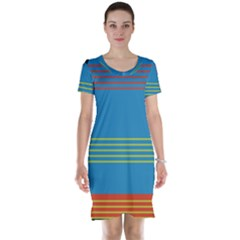 Sketches Tone Red Yellow Blue Black Musical Scale Short Sleeve Nightdress