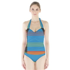 Sketches Tone Red Yellow Blue Black Musical Scale Halter Swimsuit