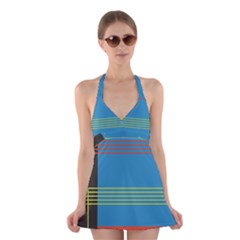 Sketches Tone Red Yellow Blue Black Musical Scale Halter Swimsuit Dress