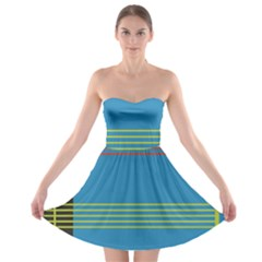 Sketches Tone Red Yellow Blue Black Musical Scale Strapless Bra Top Dress