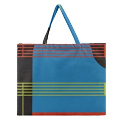 Sketches Tone Red Yellow Blue Black Musical Scale Zipper Large Tote Bag
