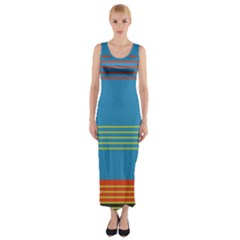 Sketches Tone Red Yellow Blue Black Musical Scale Fitted Maxi Dress