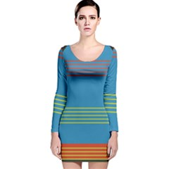Sketches Tone Red Yellow Blue Black Musical Scale Long Sleeve Velvet Bodycon Dress