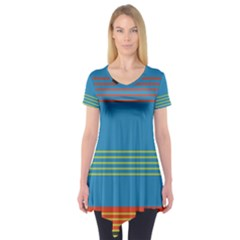 Sketches Tone Red Yellow Blue Black Musical Scale Short Sleeve Tunic