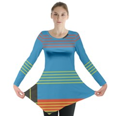 Sketches Tone Red Yellow Blue Black Musical Scale Long Sleeve Tunic