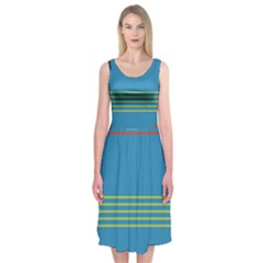 Sketches Tone Red Yellow Blue Black Musical Scale Midi Sleeveless Dress
