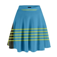 Sketches Tone Red Yellow Blue Black Musical Scale High Waist Skirt