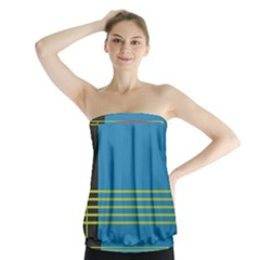 Sketches Tone Red Yellow Blue Black Musical Scale Strapless Top