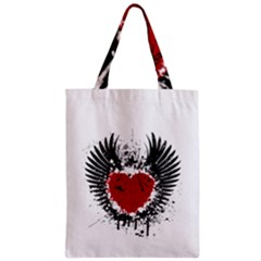Wings Of Heart Illustration Zipper Classic Tote Bag