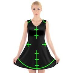 Sniper Focus V-Neck Sleeveless Skater Dress