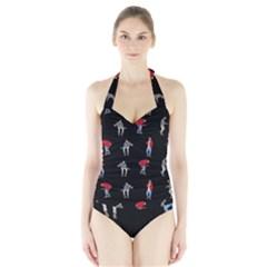 Drake Hotline Bling Black Background Halter Swimsuit