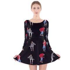 Drake Hotline Bling Black Background Long Sleeve Velvet Skater Dress