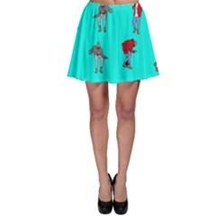 Hotline Bling Blue Background Skater Skirt
