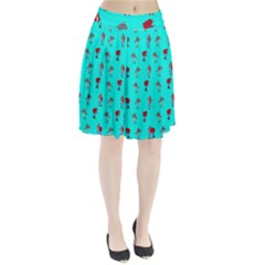 Hotline Bling Blue Background Pleated Skirt
