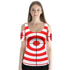 Sniper Focus Target Round Red Butterfly Sleeve Cutout Tee