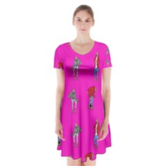 Hotline Bling Pink Background Short Sleeve V-neck Flare Dress