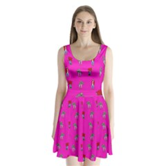 Hotline Bling Pink Background Split Back Mini Dress