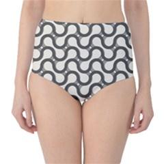 Shutterstock Wave Chevron Grey High-Waist Bikini Bottoms