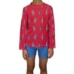 Hotline Bling Red Background Kids  Long Sleeve Swimwear