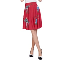 Hotline Bling Red Background A-Line Skirt