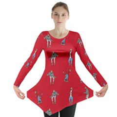 Hotline Bling Red Background Long Sleeve Tunic