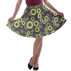 Ring Circle Plaid Green Pink Blue A-line Skater Skirt