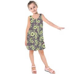 Ring Circle Plaid Green Pink Blue Kids  Sleeveless Dress