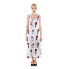 Hotline Bling White Background Sleeveless Maxi Dress