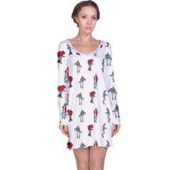 Hotline Bling White Background Long Sleeve Nightdress