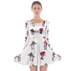 Hotline Bling White Background Long Sleeve Skater Dress