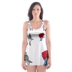 Hotline Bling White Background Skater Dress Swimsuit