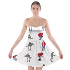 Hotline Bling White Background Strapless Bra Top Dress