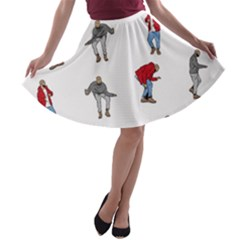 Hotline Bling White Background A-line Skater Skirt