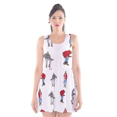 Hotline Bling White Background Scoop Neck Skater Dress