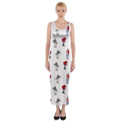 Hotline Bling White Background Fitted Maxi Dress