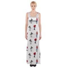 Hotline Bling White Background Maxi Thigh Split Dress
