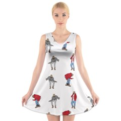 Hotline Bling White Background V-Neck Sleeveless Skater Dress