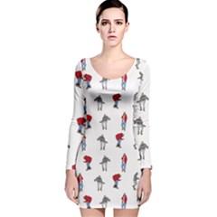 Hotline Bling White Background Long Sleeve Velvet Bodycon Dress