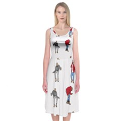 Hotline Bling White Background Midi Sleeveless Dress