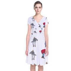 Hotline Bling White Background Short Sleeve Front Wrap Dress